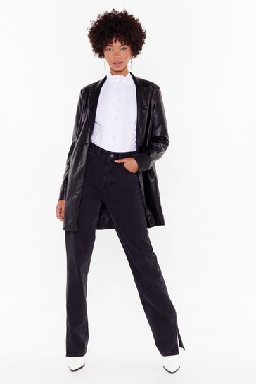 Black Faux Leather Shoulder Padded Blazer