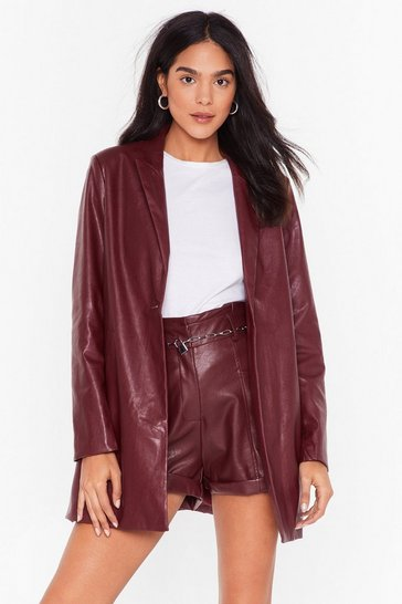 Womens Maroon Faux Leather Blazer