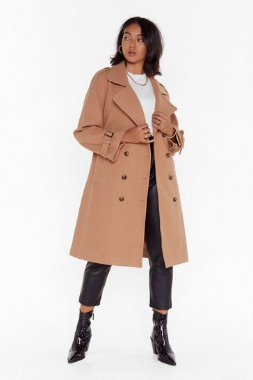 Womens Camel PLUS Belted wool lock coat