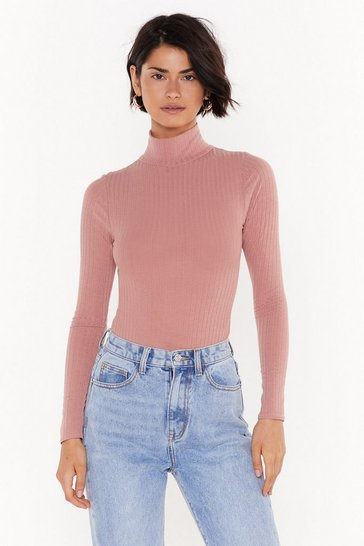 Rose They See Me Rollin' Turtleneck Ribbed Bodysuit