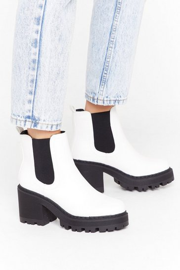 Womens White PU Block Heel Cleated Chelsea Boots