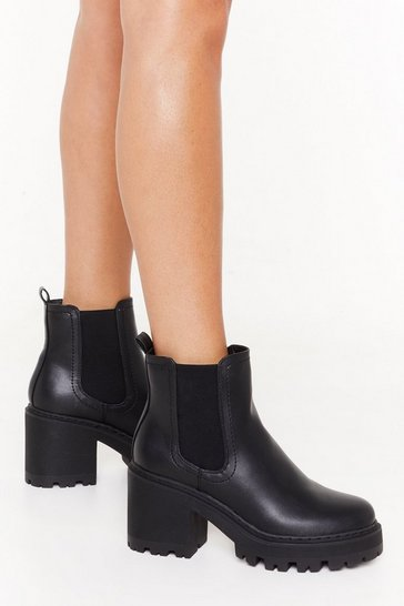 Womens Black Chelsea Chelsea Cleated Ankle Boots