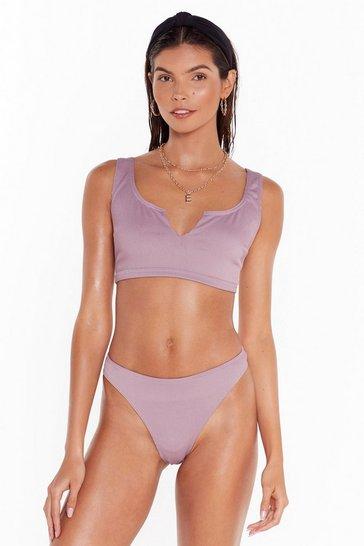 Dusky pink Notch neck ribbed bikini