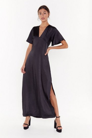Black Tonight You Belong to V Satin Maxi Dress