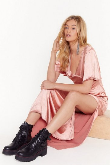 Rose Tonight You Belong to V Satin Maxi Dress
