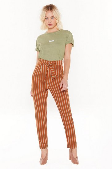 Womens Orange Next in Line High-Waisted Stripe Pants