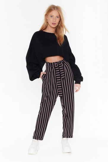 Womens Black Striping Me Out High-Waisted Pants