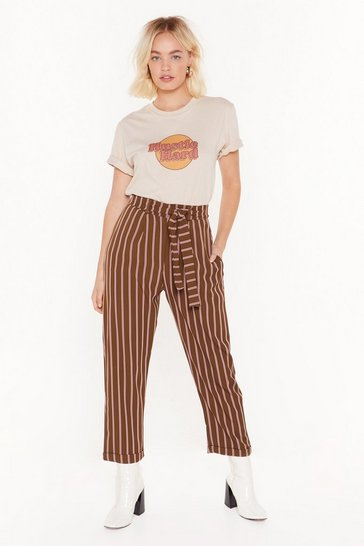 Womens Khaki Striping Me Out High-Waisted Pants