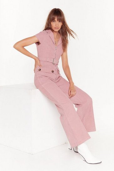 Womens Rose Off the Record-uroy Wide-Leg Jumpsuit