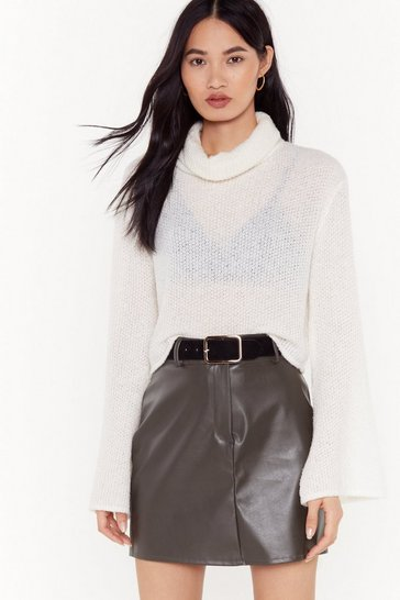 Womens Olive No Matter What the Faux Leather Mini Skirt