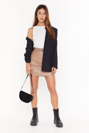 Womens Tan No Matter What the Faux Leather Mini Skirt