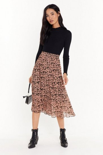 Womens Pink Bloom Shake Shake Pleated Midi Skirt