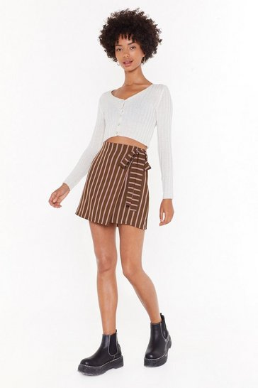 Womens Khaki Years Down the Line Stripe Mini Skirt