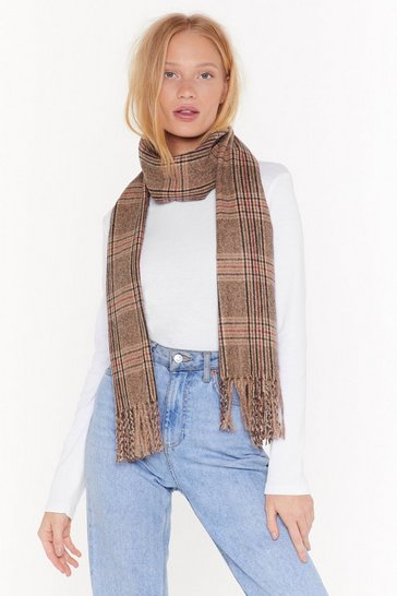 Womens Brown Fringe With Benefits Check Scarf