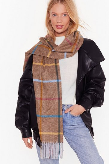 Womens Brown Won't Get Grid of Me Oversized Check Scarf