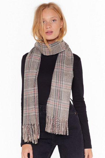 Womens Grey Fringe With Benefits Check Scarf
