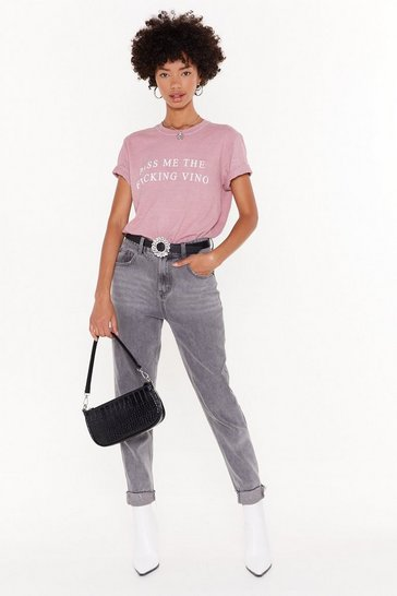 Womens Mauve Pass the Fucking Vino Graphic Tee