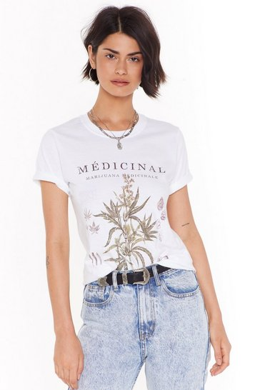 Womens White Botanical Floral Graphic Tee