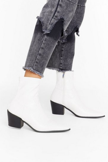 Womens White A Little Lower Faux Leather Sock Boot
