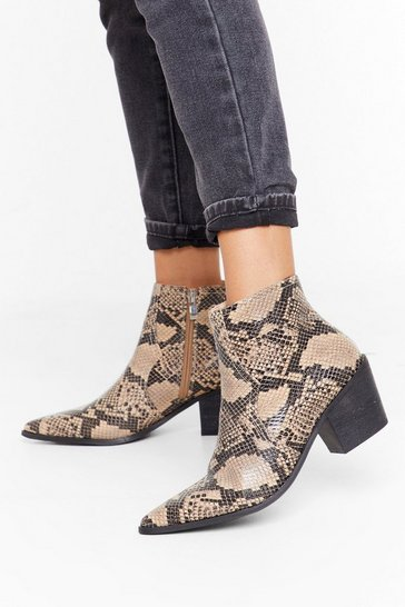 Natural Let's Hiss and Snake Up Faux Leather Boots