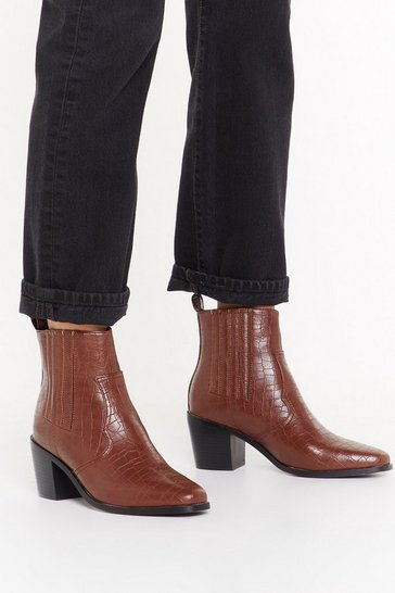 Brown It's All For the West Croc Faux Leather Boots