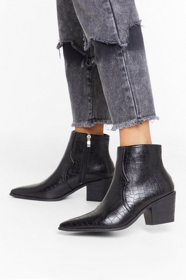 Womens Black Don't Croc Till You Get Enough Faux Leather Boots