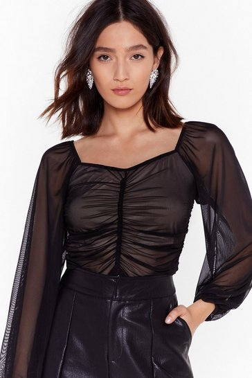 Womens Black Ruched Mesh Sweetheart Top