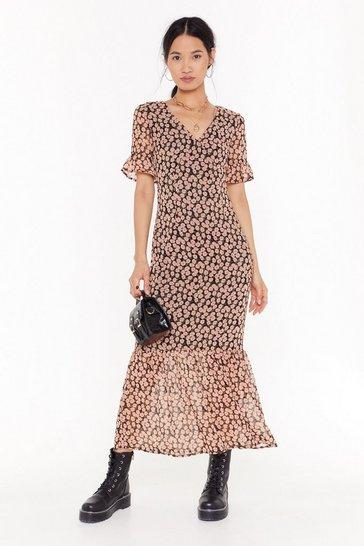 Black Floral V-Neck Midi Dress with Short Sleeves