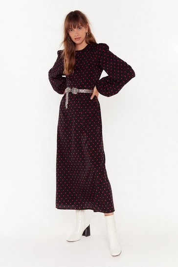 Black Spot You Waitin' For Polka Dot Maxi Dress