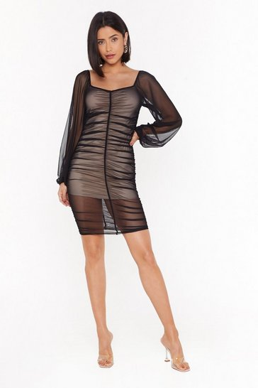 Womens Black A Little Mesh Conversation Ruched Mini Dress