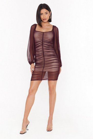 Womens Plum A Little Mesh Conversation Ruched Mini Dress