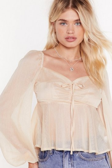 Womens Cream ms metallic floaty square neck blouse