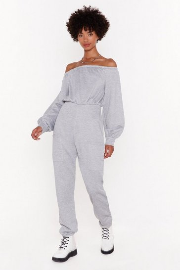Womens Grey What You See is What You Sweat Off-the-Shoulder Jumpsuit