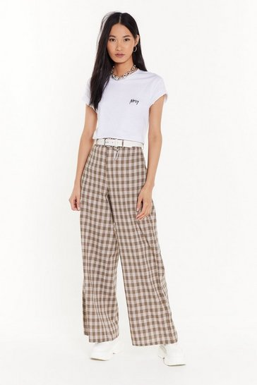 Womens Beige Girl Just Relax Wide-Leg Check Pants