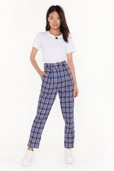 Womens Blue check belted trousers