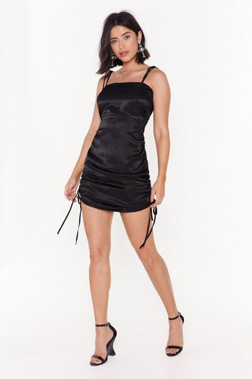 Womens Black The Ruche-ure is Ours Satin Mini Dress