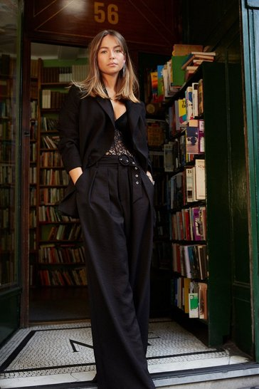 Black On the Runway Belted Wide-Leg Trousers