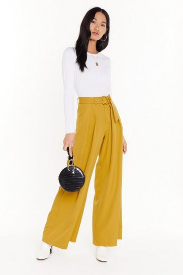 Womens Lime On the Runway Belted Wide-Leg Pants