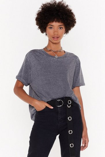 Womens Charcoal Wash It With Me Oversized Tee
