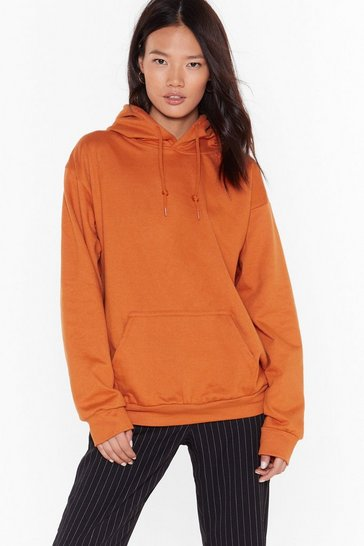 Womens Orange Cozy is Priority Pullover Hoodie