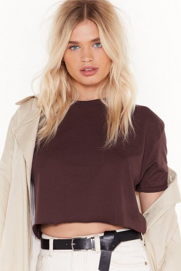 Womens Burgundy Crop Mama Relaxed Tee