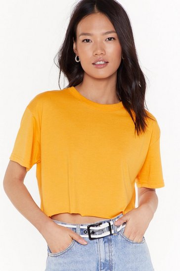 Womens Mustard Crop Mama Relaxed Tee