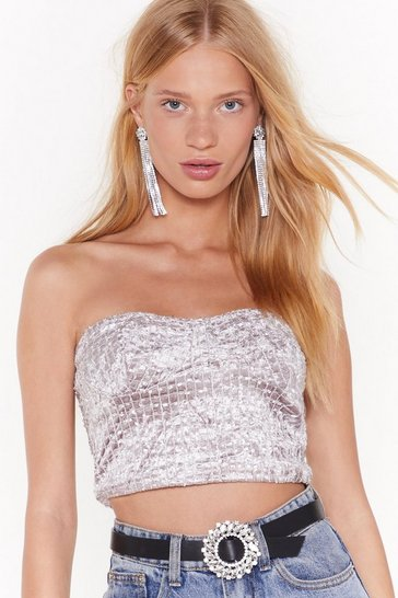 Womens Mauve Cup and Away Velvet Bandeau Top