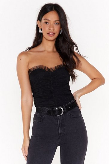Black Ruffled for Time Mesh Bodysuit