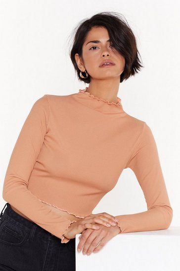 Womens Salmon With Edge High Neck Crop Top