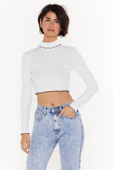 Ivory Frill We Meet Again Ribbed Cropped Sweater