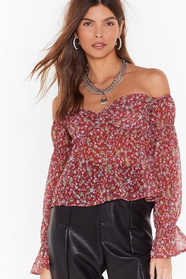Womens Red Plant Make It Floral Off-the Shoulder Top