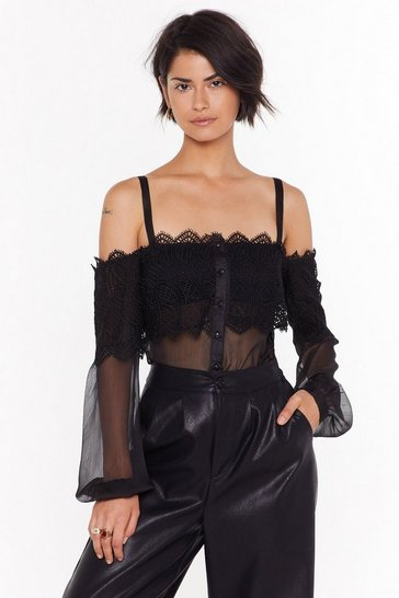 Womens Black Lace And Sheer Mix Bardot Blouse