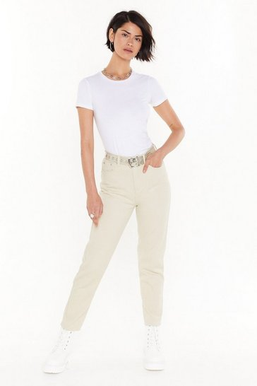 Womens Cream Just Like Her Mom Denim Jeans