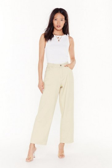 Cream Searched Far and Wide-Leg Denim Jeans